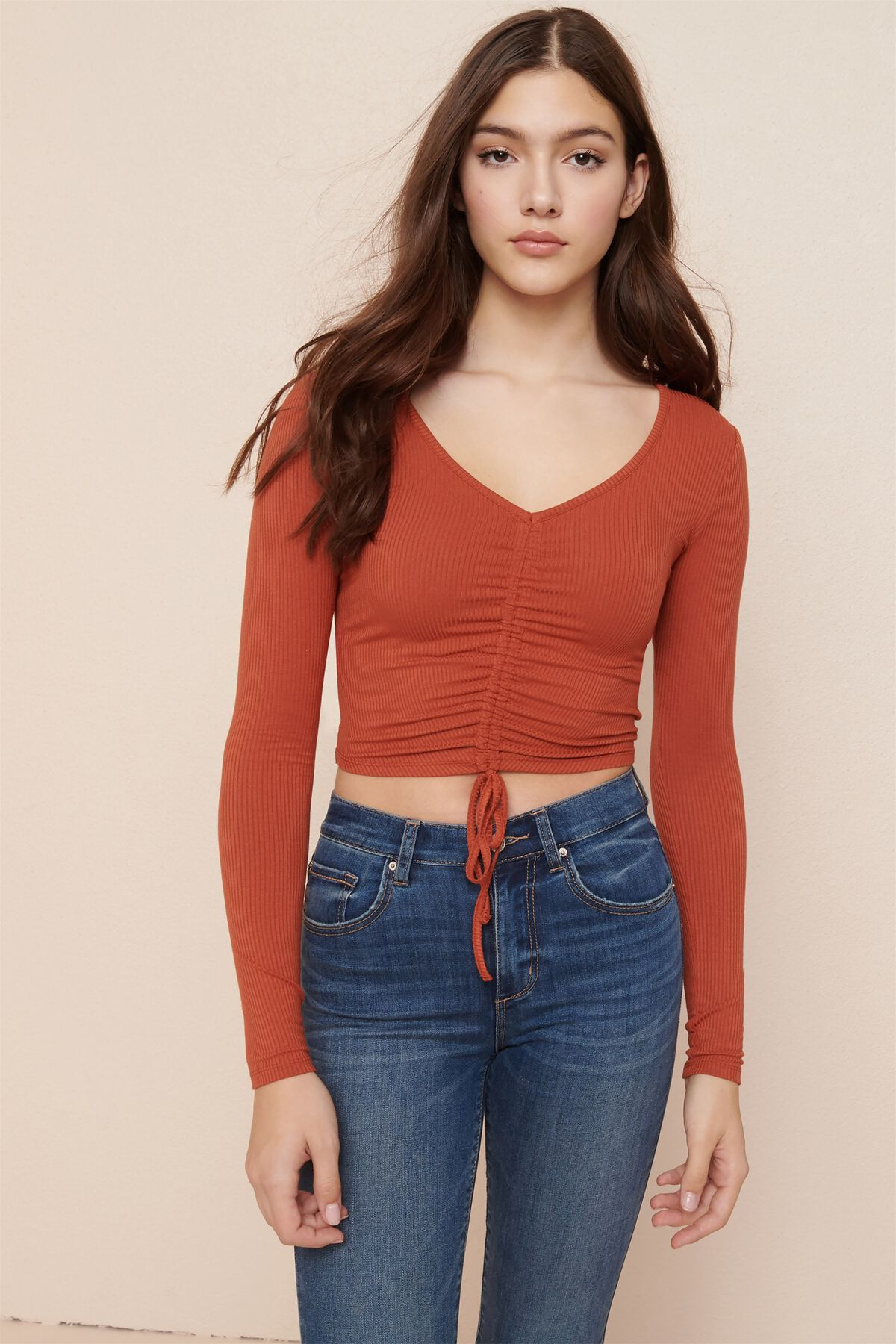 Long Sleeve Ruched Front Tee Garage